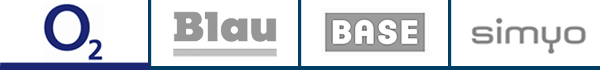 o2, Base, Blau, simyo - Marken von Telefonica