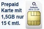 o2 Freikarte All-in 1,5 GB für kurze Zeit nur 15 € statt 19,99 € je Monat