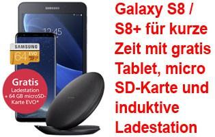 Samsung Galaxy S8 / S8+ mit gratis Tablet, Ladestation und Speicherkarte