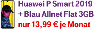 Huawei P Smart 2019 mit Blau Allnet 3GB zum Aktionspreis