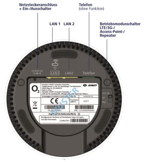 o2 HomeSpot WLAN Router - Abbildung unten