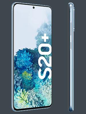 Samsung Galaxy S20+ in blau (seitlich) - o2