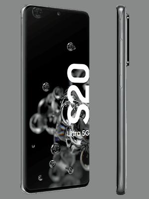 Samsung Galaxy S20 Ultra 5G in grau (seitlich) - o2