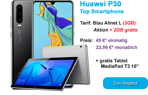 Huawei P30 mit gratis Tablet günstig bei Blau.de