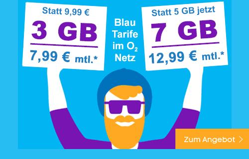 Blau Allnet Flat Tarife - extra günstig und im o2 Netz