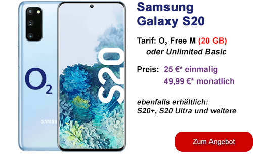 Samsung Galaxy S20 günstig mit o2 Free Vertrag