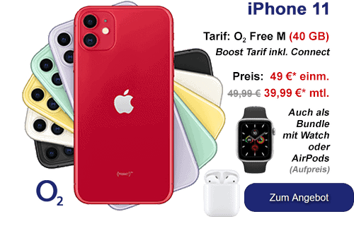 o2 Bundle - iPhone 11 mit Apple Watch oder AirPods