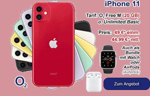 o2 Bundle - iPhone 11 mit Apple Watch oder AirPods