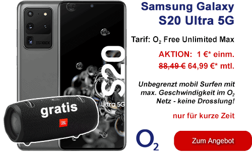 Samsung Galaxy S20 Ultra 5G mit o2 Free Unlimited Max inkl. JBL Box