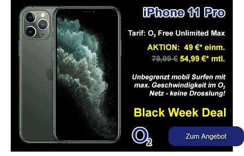 Apple iPhone 11 Pro günstig mit o2 Free Unlimited Max - Black Week Deal