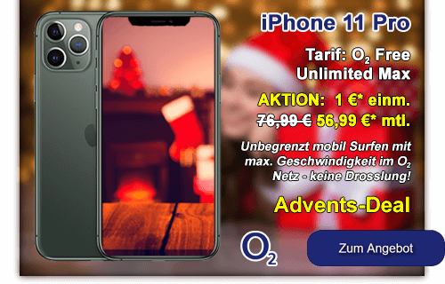 Apple iPhone 11 Pro mit o2 Free Unlimited Max - Advents-Deal