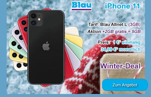 Apple iPhone 11 als Winter-Angebot bei Blau.de