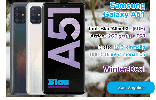 Samsung Galaxy A51 als Winter-Angebot bei Blau.de