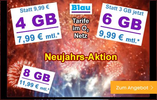 Blau.de Neujahrs-Aktion - Allnet Flat Tarife extra günstig