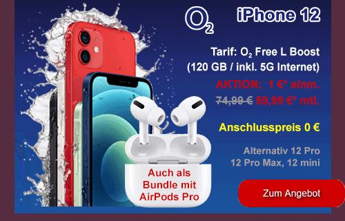 Apple iPhone 12 als Winter-Angebot bei o2 - auch mit AirPods Pro