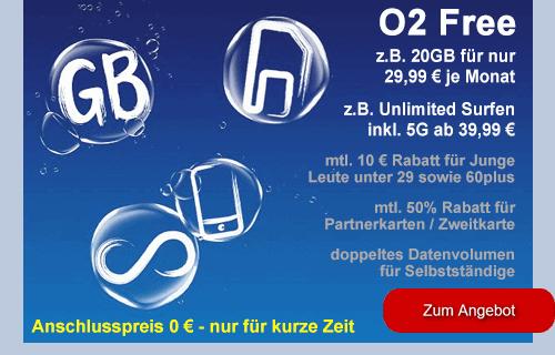 o2 Free Tarife - aktuelle Angebote