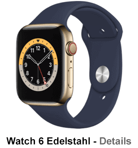 o2 - Apple Watch 6 - Edelstahl Sport - blau